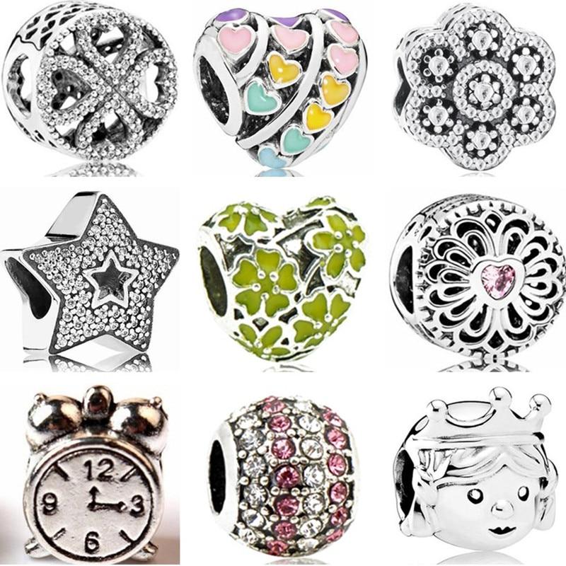 Flowers Beads Bangles Clock Charms-Fit Pandora Bracelets Punk-Alloy Stars Hearts Women