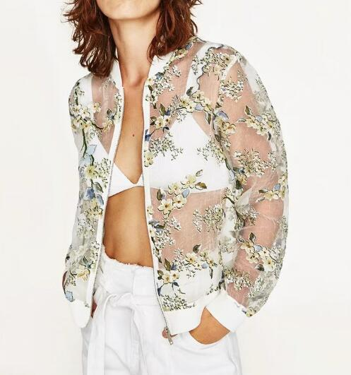 WISHBOP 2017 Fashion New White Transparent Bomber Jacket with floral Printed Zipper Front Woman jackets