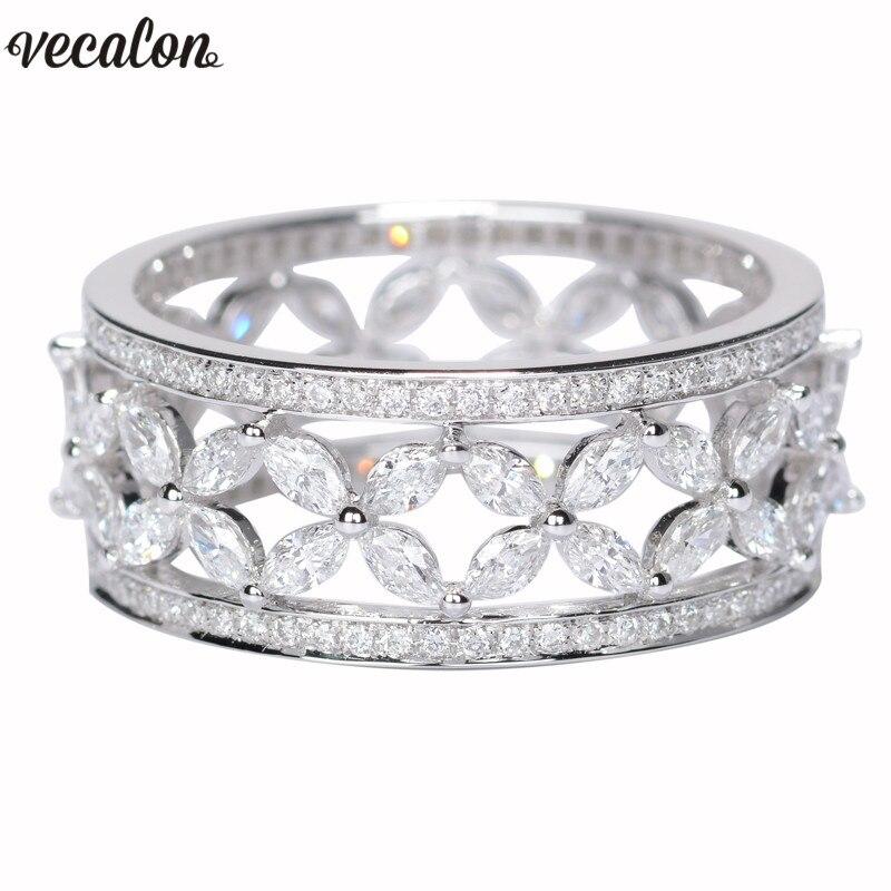 Vecalon Fleur forme 925 Sterling Argent Promise ring AAAAA Cz Engagement wedding Band anneaux pour femmes De Mariée Doigt bijoux