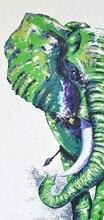 קיר קנס בעבודת יד יצירות אמנות מופשטים בד פיל בעלי החיים ארוך ירוק תמונת דקור Handpainting גאנש ציורי שמן פיל