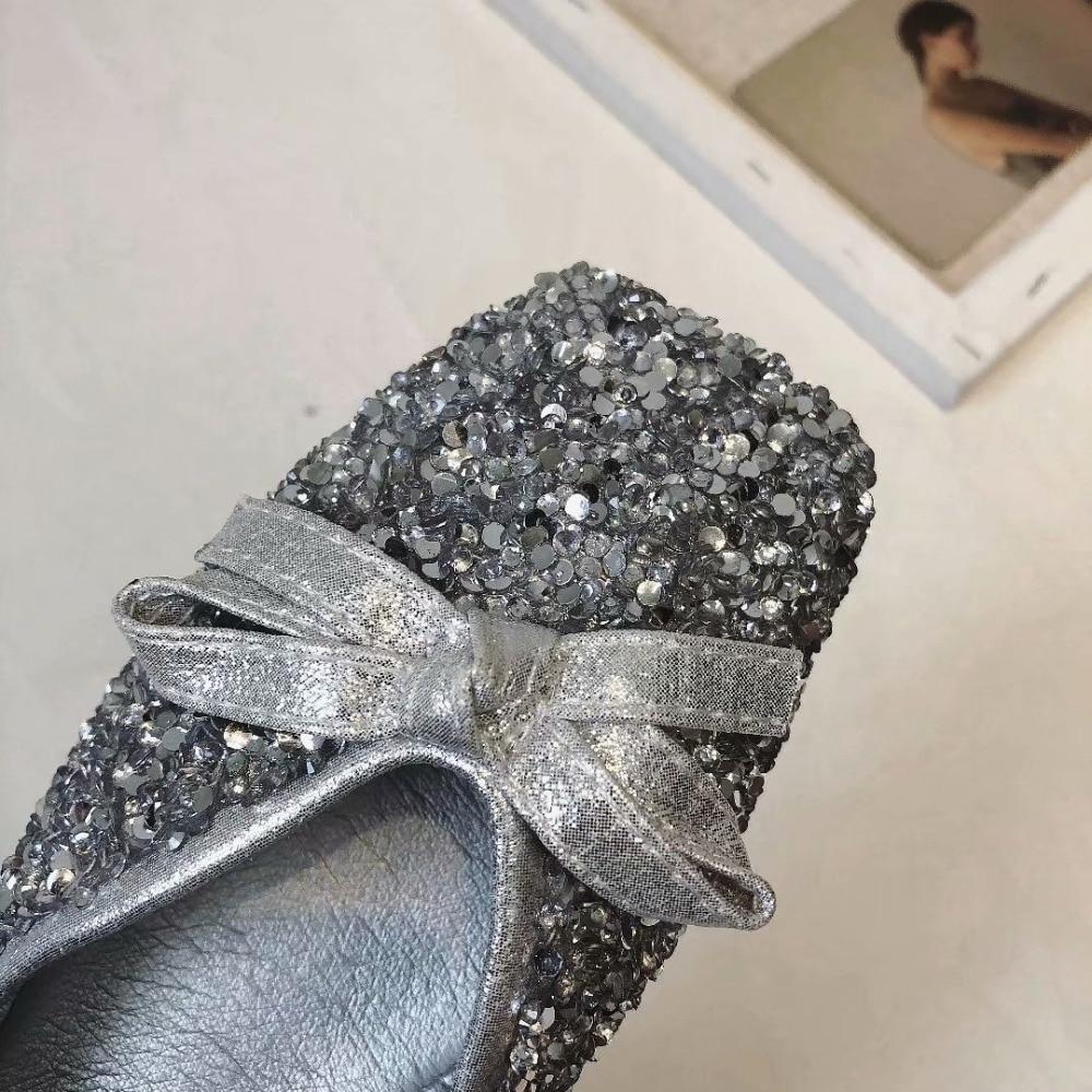 Robe De 2018 Printemps Femmes Soirée Ballerines Slip Argent Bout Cristal on Automne Carré Bling Kjstyrka Chaussures Plates wZpqI6txZ