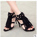 Lady big size12 Rome tassel rivet nubuck leather sexy peep open toe thin high heeled sandals shoes women pumps summer style girl