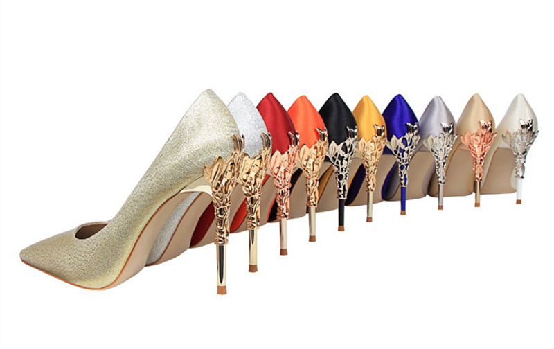 Luxury Sexy Pointed toe Metal high heels Women party wedding shoes