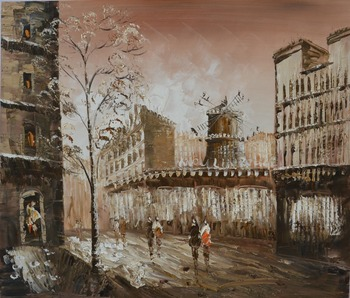 Modern home decor hand-painted canvas oil painting restoring ancient ways of city street landscape DM15062710