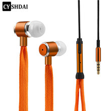 Shoelaces Earphone Stereo Sound Metal Bass earphone earphones Music Earpieces with Microphone for iPhone Xiaomi Samsung Sport(China)