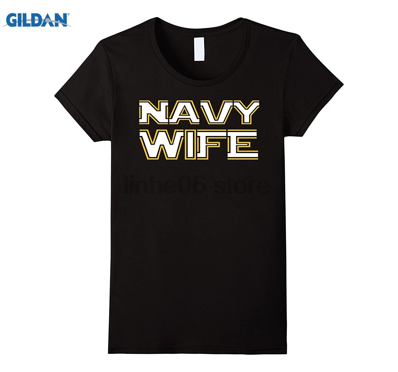 GILDAN Womens U.S. NAVY WIFE T-SHIRT ORIGINAL NAVY TSHIRT summer dress T-shirt Mothers Day Ms. T-shirt