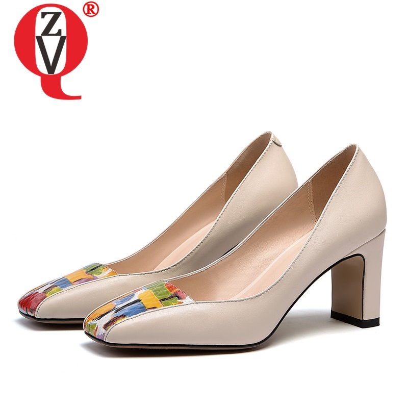 ZVQ Woman Shoes Autumn Newest Fashion Sexy Square Toe Genuine Leather Woman Pumps Outside High Heels Mixed Colors Party Shoes