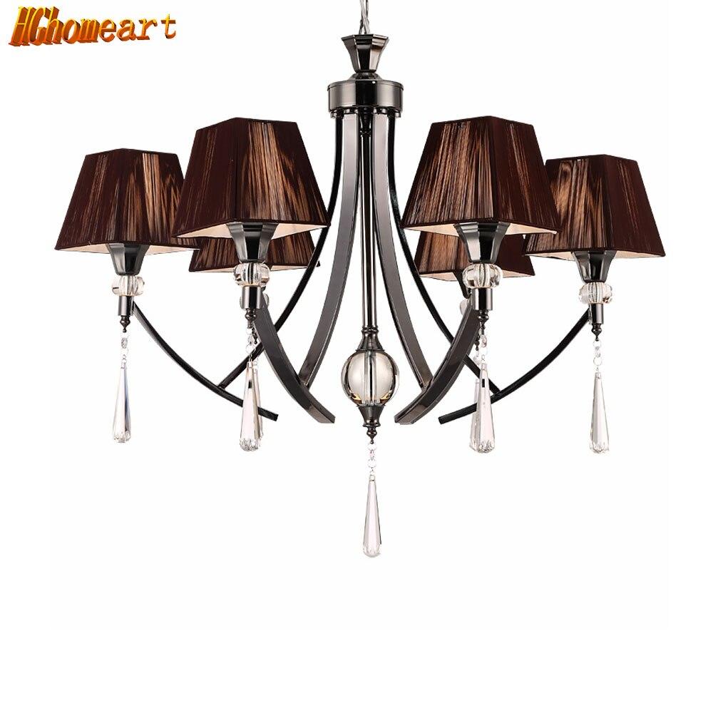 HGHomeart Black Modern Crystal Chandelier 110V 220V LED Lamp Nursery Iron Chandeliers Baby Shine Lighting Luster
