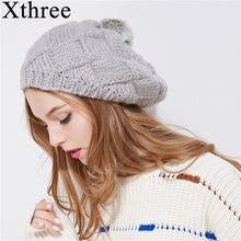 Xthree Novo chapéu do inverno para mulheres de malha boina chapéu com pele  de coelho pom pom cap moda primavera sólida menina b4b8a7f694e