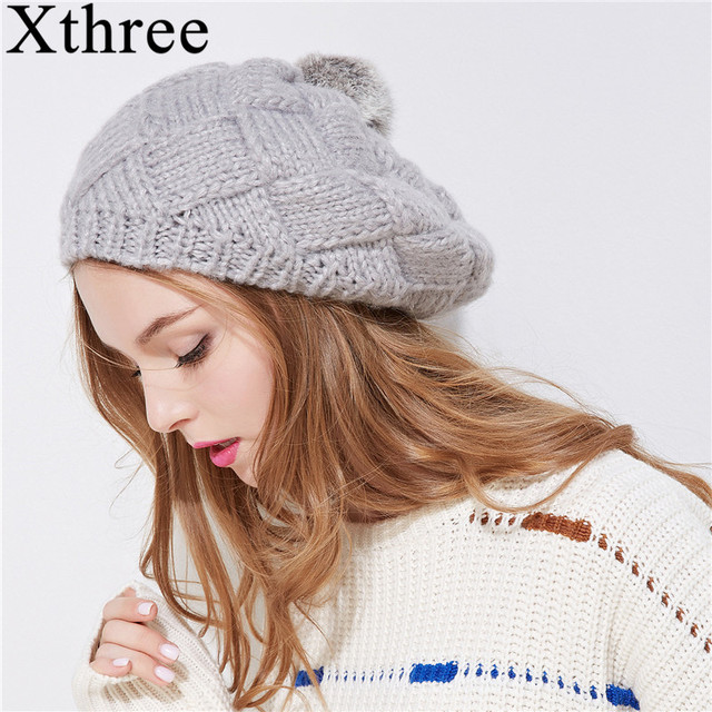 a5d18c6a4ca77 Xthree New winter hat for women knitted beret hat with rabbit fur pom pom  girl solid fashion cap spring