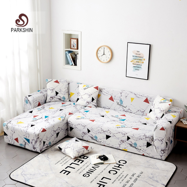 Parkshin Geometric Slipcover Stretch Sofa Covers Furniture Protector Polyester Loveseat Couch Cover Sofa Towel 1/2/3/4 seater