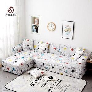 Image 1 - Чехол для дивана Parkshin с геометрическим рисунком, растягивающийся чехол для дивана, полиэфирный защитный чехол для мебели, 1/2/3/4 места