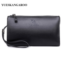 YUES KANGAROO Famous Brand Men Clutch Bags Leather Purse PU Leather Business Long Phone Wallet Black Male Handy Bags men wallets
