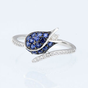 Image 4 - SANTUZZA Silver Jewelry Set For Woman Unique Delicate Blue Tulip Flower CZ Ring Earrings Set 925 Sterling Silver Fashion Jewelry