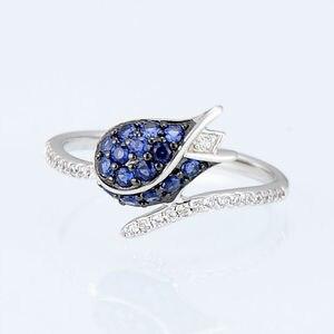 Image 4 - SANTUZZA gümüş takı seti kadın için benzersiz narin mavi lale çiçek CZ yüzük küpe seti 925 ayar gümüş moda takı