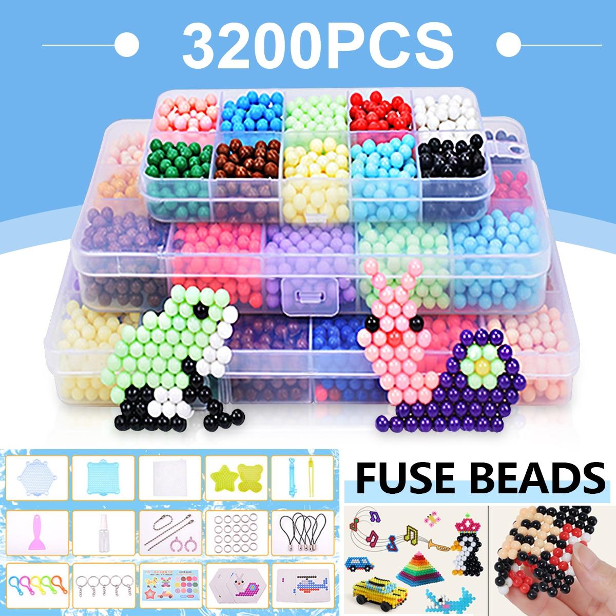 Unids 3200 piezas de juguetes 24 colores caja Set MINI niños Diy juguetes fusible cuentas Plussize Pegboard hojas de planchar Pape