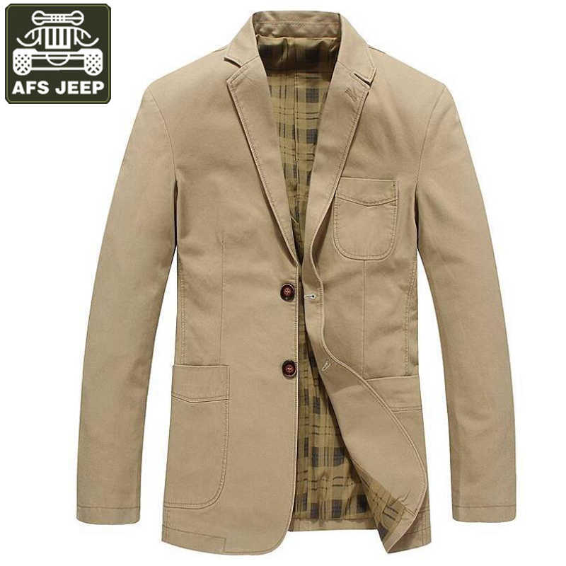 24512c81e23 AFS JEEP 2017 Brand Clothing Spring Jacket Men Blazer Business Casual Cotton  Turn-down Collar