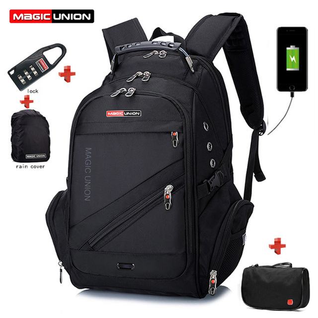 MAGIC UNION Laptop Bag Male External USB Charge Backpacks Anti-theft Waterproof Backpack Clutch Bag Set with Lock Raincover