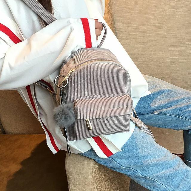 Cute velvet Backpack For Teenagers Children Mini Back Pack Kawaii Girls Kids Small Backpacks female Packbags Fur ball school bag (5)