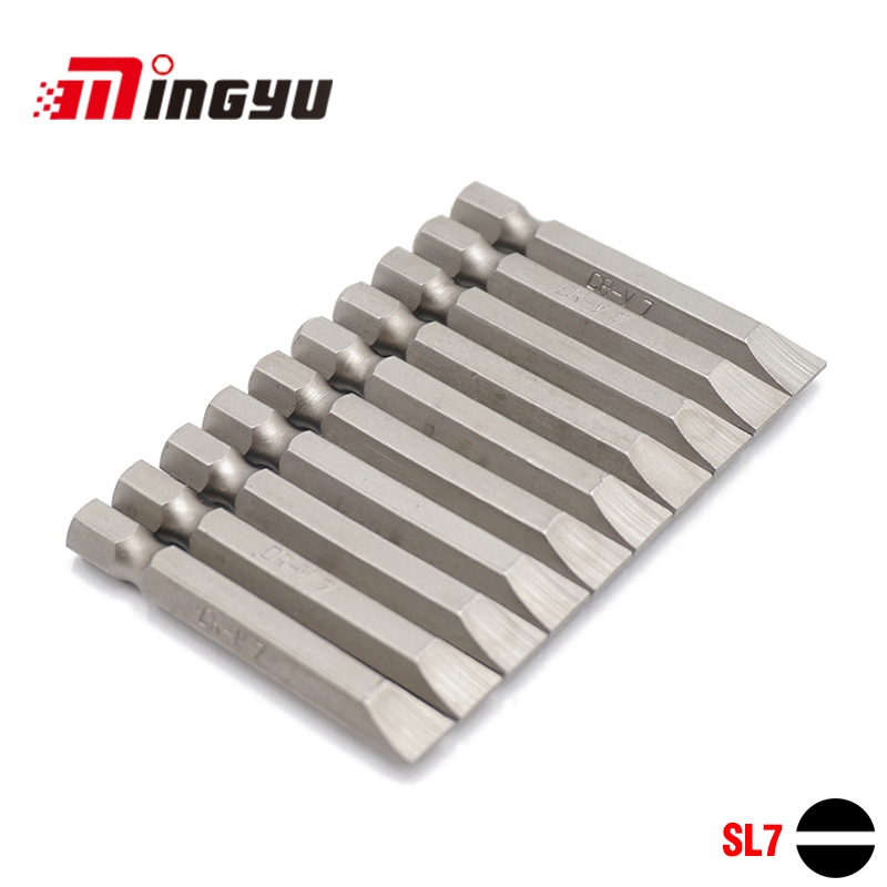 10pcs 50mm Length Slotted Screwdriver Bit Set 1/4 Inch Hex Shank SL7 Chrome Vanadium Steel Precision Flat Screw Driver Bits