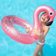 Super Large Flamingo Rose Gold Swim Ring The New Adult Summer Party Shiny Inflatable Seat Float Kids Gift Pool Toys Beach