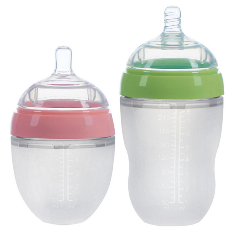 4 Styles Baby Bottle Newborn Wide Caliber Anti-flatulence Silicone Bottle With Handle Baby Supplies Kids Milk Food Feeding Tools
