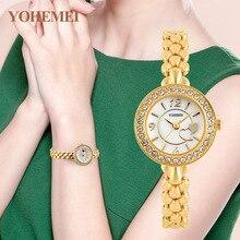 YOHEMEI Pulsera Única Correa Pequeña Esfera Redonda Relojes de Las Mujeres Marca de Moda de Lujo Quatrz Reloj de Mujer Reloj de pulsera de Reloj de Oro