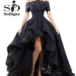 Off the shoulder evening dress short sleeve hi low party dress black lace prom dresses party.jpg 250x250