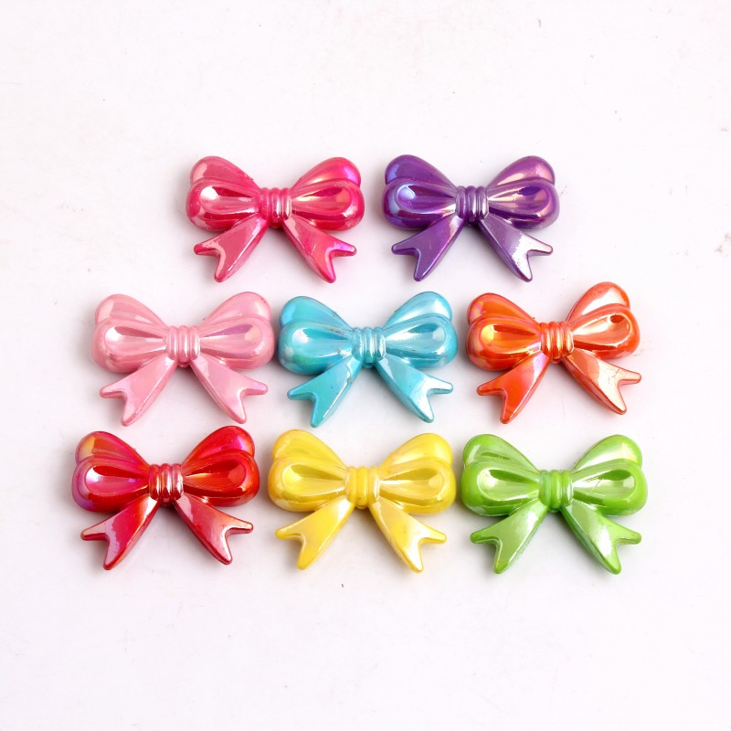 OYKZA New Fashion 47x37MM 55pcs Acrylic AB Bow Beads For Chunky Bubblegum Beaded Necklace Jewelry