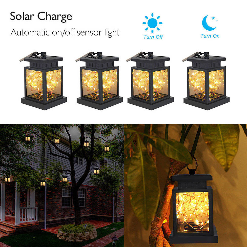 Portable Lantern LED Light Outdoor Solar Lantern Hanging Light LED Yard Garden Lamp Decors For Camping Hiking New