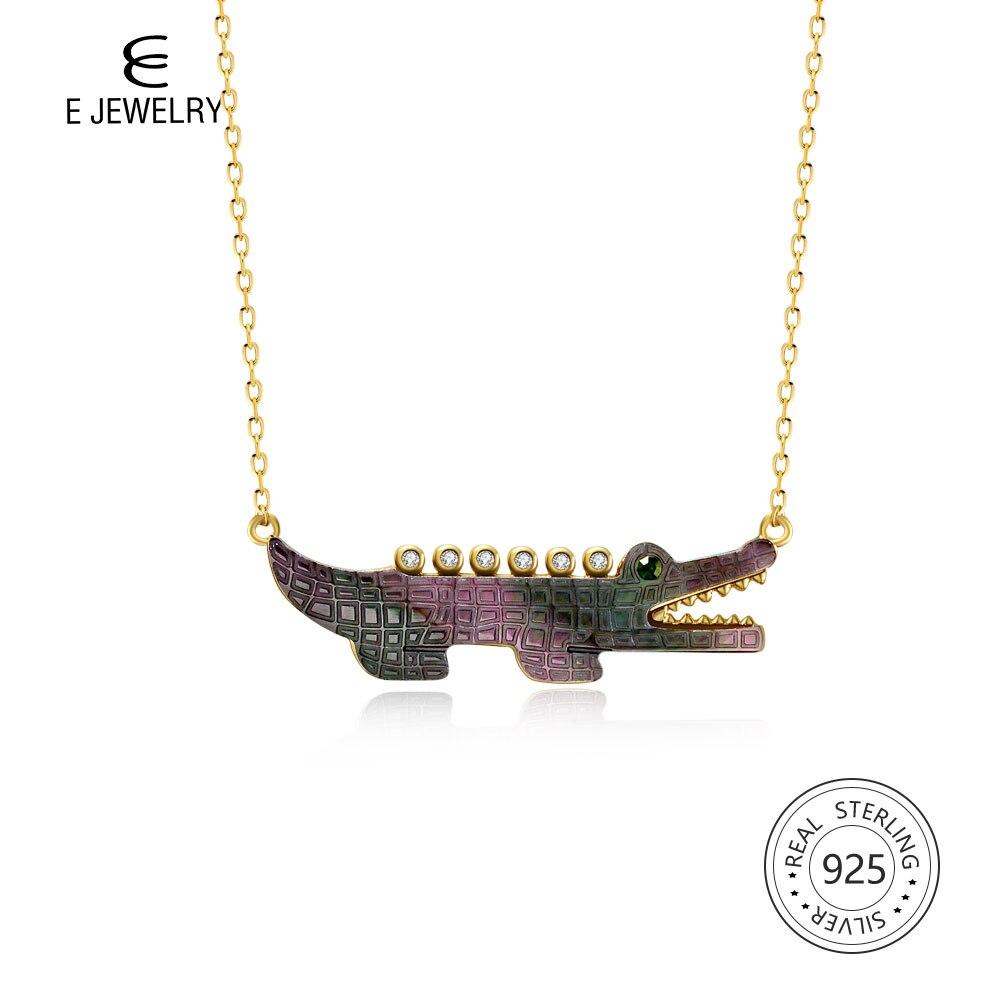 E bijoux pendentif Crocodile collier 925 en argent Sterling Zircon 18 K plaqué or mignon collier Animal vert pour les femmes filles