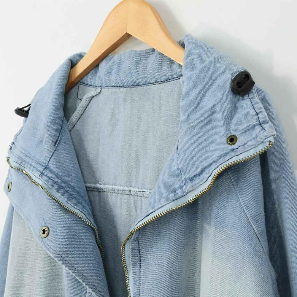 2019 модные женские туфли комплект из двух предметов джинсовая куртка пальто с капюшоном негабаритных Повседневное пальто Леди Верхняя одежда Джинсовая куртка осень/зима парка