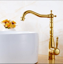 Hot Sale Home Improvement Accessories Gold Brass 360 degree Kitchen Faucet Swivel Bathroom Basin Faucet Sink Mixer Tap Crane kitchen faucet antique brass swivel bathroom basin sink mixer tap with ceramic crane hot
