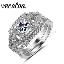 Vecalon Handmade Princess cut 1.5ct Cz 5A Zircon 10KT White Gold Filled Wedding Band Ring Set for Women Sz 5-11