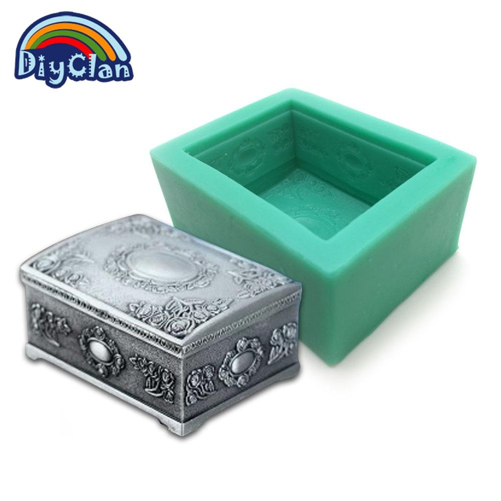 Nueva Restaurar maneras antiguas joyas caja de molde de resina de silicona molde