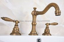 Widespread Dual Handles Brass Antique Basin Sink Faucet 3 Holes Bathroom Vessel Sink Mixer Tap Ban075 стоимость