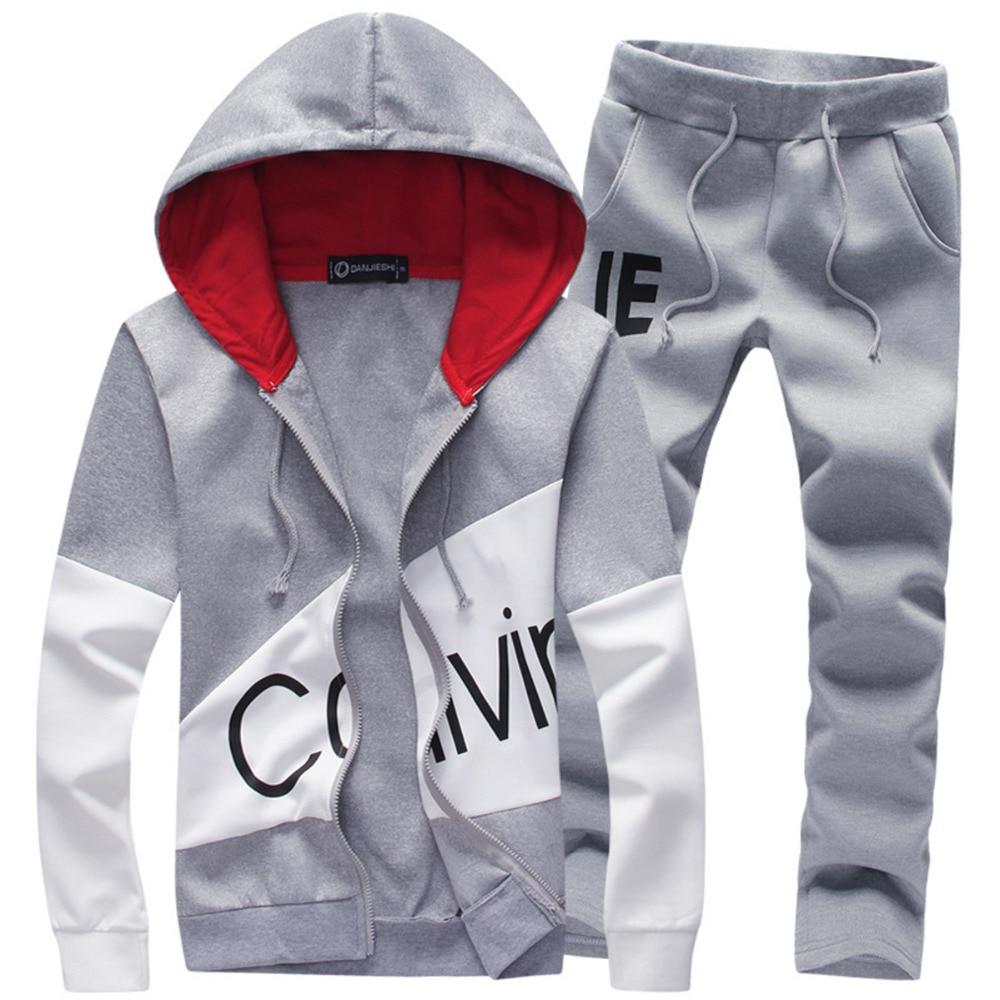 100% Wahr Männer Mode Zwei Stücke Lässige Männlichen 2018 Sweatshirt + Hosen Anzüge Männer Plus Größe 5xl Hoodies Set Sweatshirts Dropship