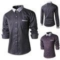 Полоска базовые мужчины платье рубашки марка Man приталенный fit длинный рукав социальный Camisas Masculinas