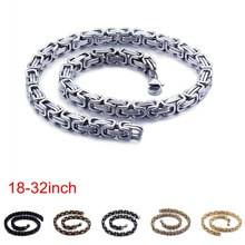 6/8mm Width Royal Box Chain Necklace For Men Male Stainless Steel Long Necklace Personalise Jewelry Boyfriend Gift