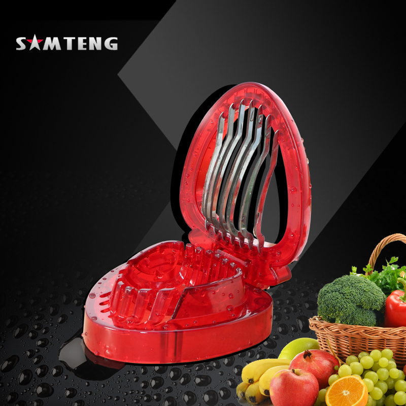 Kitchen gadget, strawberry slicer, stainless steel blade salad cut handle strawberry cut fruit carving tool Factory direct sale