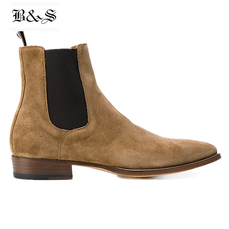 Black& Street New Handmade Wedge Pointed Toe Suede Chelsea Boots Slip On Genuine Leather Charming Man Dress Slim Denim Boots