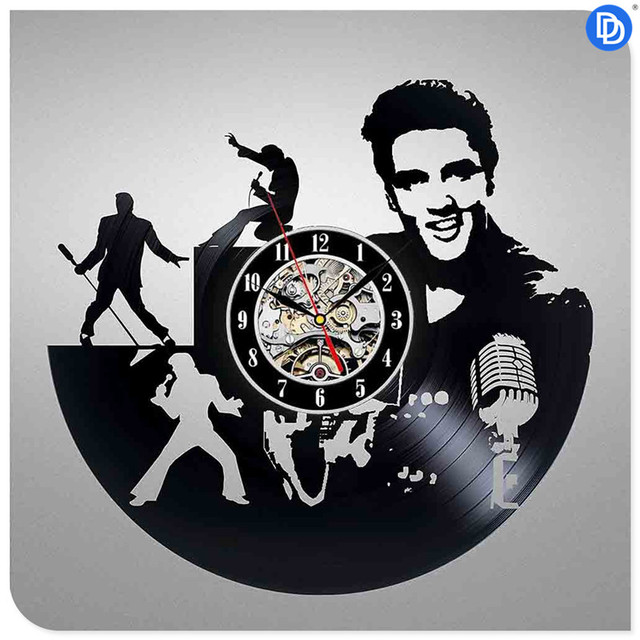 Modern Elvis Presley Vinyl Record DIY Design 3d Art Mirror Wall Clock Vinyl Record Clock Wall Art Home Decor