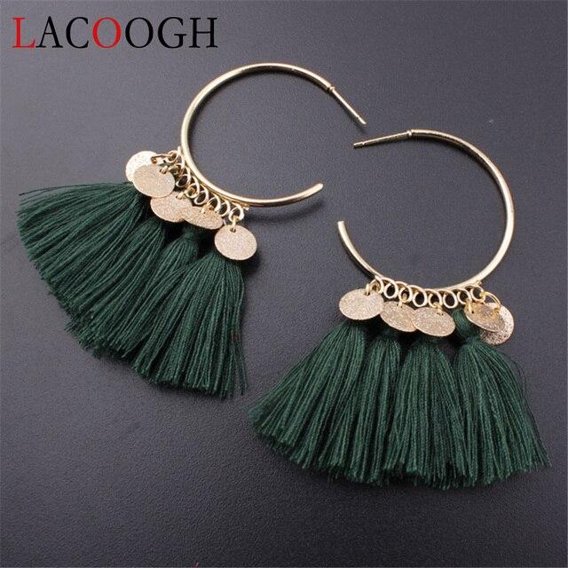 Lacoogh 2017 Ethnic Bohemia Drop Dangle Long Rope Fringe Cotton Tassel Earrings Trendy Sector Earrings for Women Fashion Jewelry