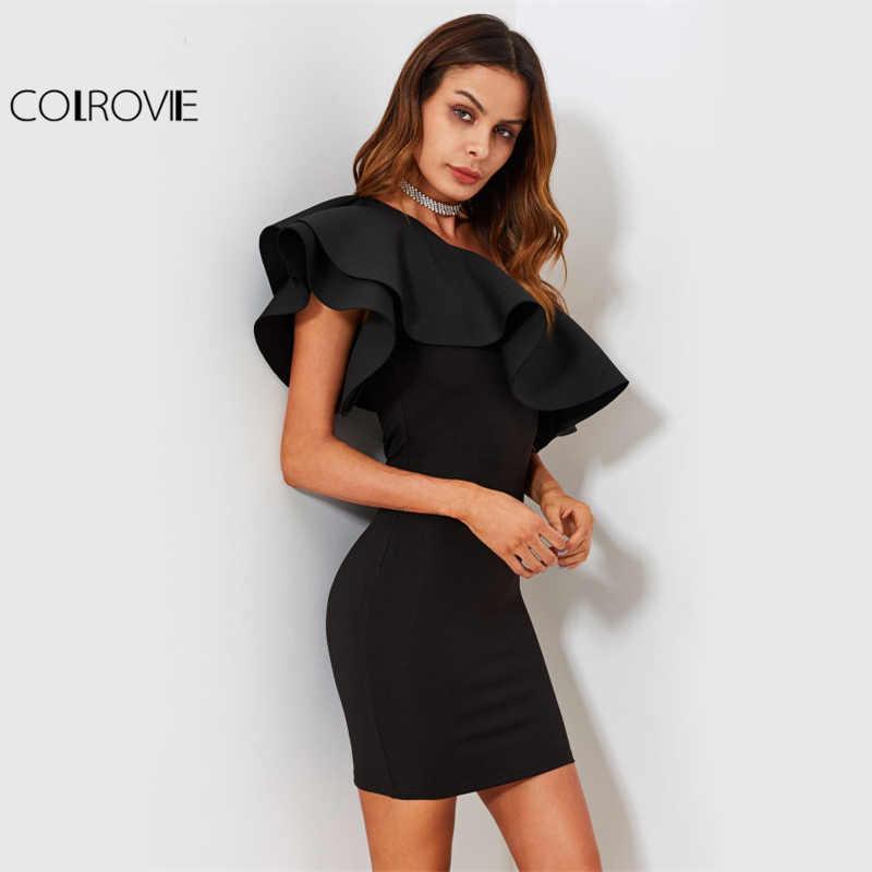 COLROVIE элегантное вечернее платье с открытыми плечами, женское облегающее летнее платье с оборками, сексуальное клубное мини-платье