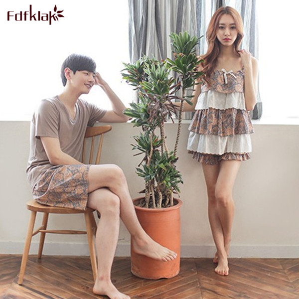 2017 New Korea Summer Couple   Pajama     Sets   Plus Size Cotton   Pajamas   Homewear Pyjamas Sleepwear Women Or Men Pijamas M-XXL E0766