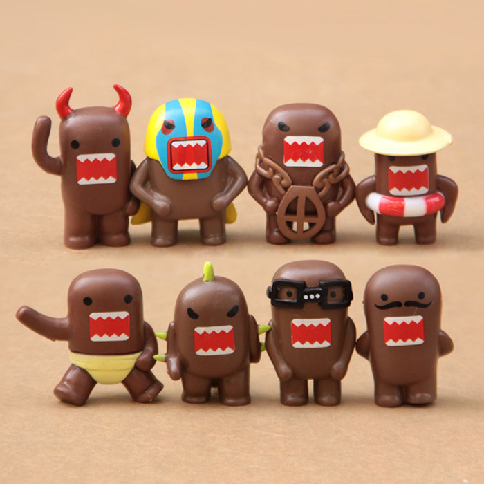 8 Pcs/set Kawaii Domo Kun action figure Toys PVC Mini cute cartoon Domokun model Collection dolls for Kids Children Xmas Gift 6pcs set disney trolls dolls action figures toys popular anime cartoon the good luck trolls dolls pvc toys for children gift