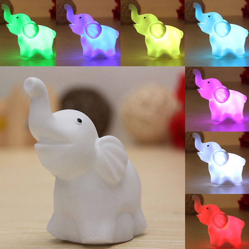 1pcs colorful led night light lamp elephant save energy lovely toy party decor room decors romantic - Party Decorations Cheap