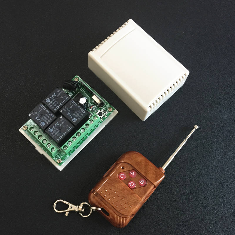 433 Mhz Universal de Control remoto inalámbrico interruptor DC 12 V 4CH relé módulo receptor con 4 canal remoto RF 433 MHz transmisor