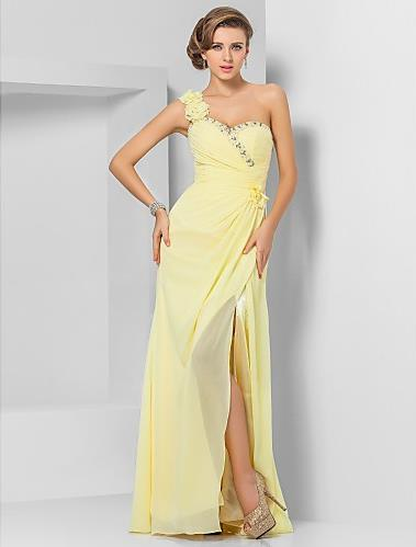 Yellow A Line Sheath Column One Shoulder Floor Length Chiffon Formal   Bridesmaid     Dress   with Beading And Ruched