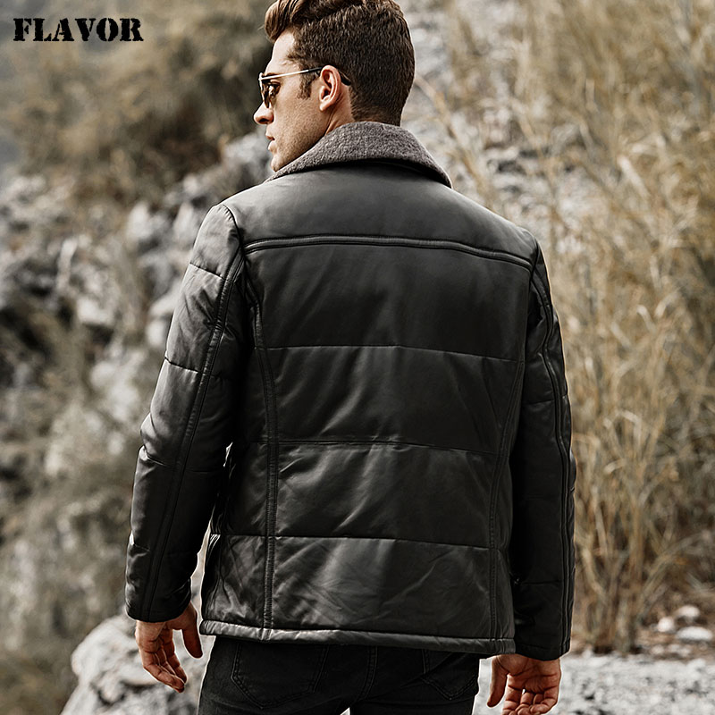 Image 5 - FLAVOR Men's Duck Down Leather Jacket Men Lambskin Genuine Leather Jacket Winter Warm Down Coat with Removable Sheep Fur Collar-in Genuine Leather Coats from Men's Clothing